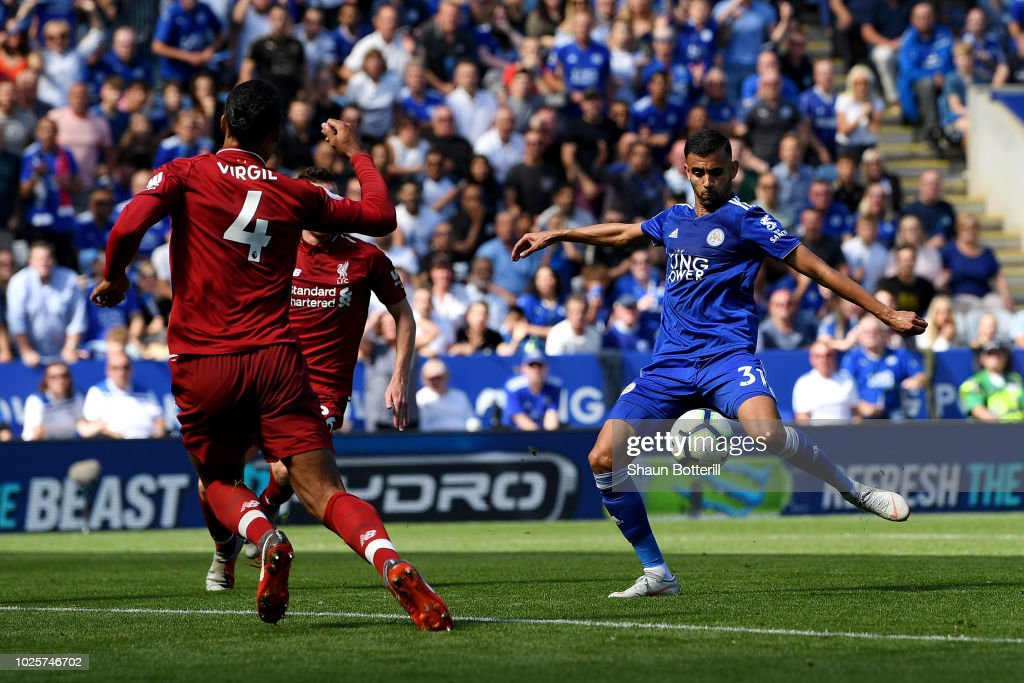 Rachid Ghezzal of Leicester City scores his team's first goal during the Premier League match between Leicester City and Liverpool FC at The King Power Stadium on September 1, 2018 in Leicester, United Kingdom.