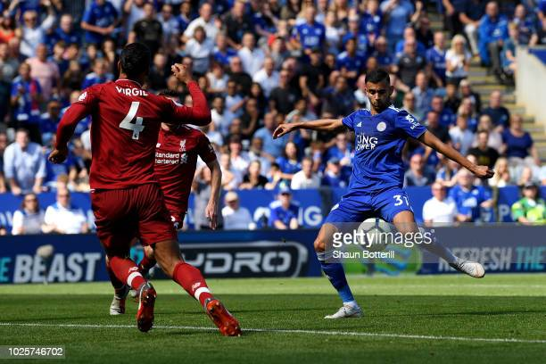 Rachid Ghezzal of Leicester City scores his team's first goal during the Premier League match between Leicester City and Liverpool FC at The King...