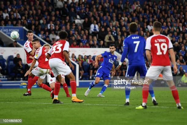 Rachid Ghezzal of Leicester City scores his team's fourth goal during the Carabao Cup Second Round match between Leicester City and Fleetwood Town at...