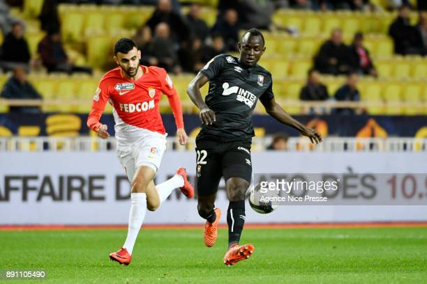 Rachid Ghezzal of Monaco and Adama Mbengue of Caen during the french League Cup match Round of 16 between Monaco and Caen on December 12 2017 in...