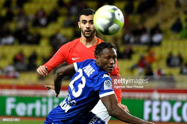 Rachid Ghezzal of Monaco and Charles Traore of Troyes during the Ligue 1 match between AS Monaco and Troyes Estac at Stade Louis II on December 9...