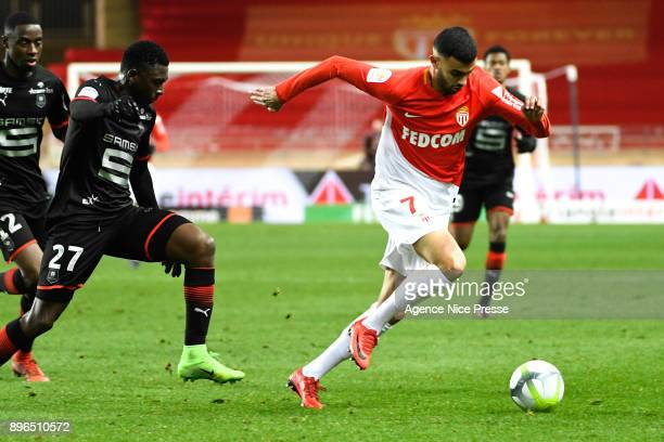 Rachid Ghezzal of Monaco and Hamari Traore of Rennes during the Ligue 1 match between AS Monaco and Stade Rennais at Stade Louis II on December 20...