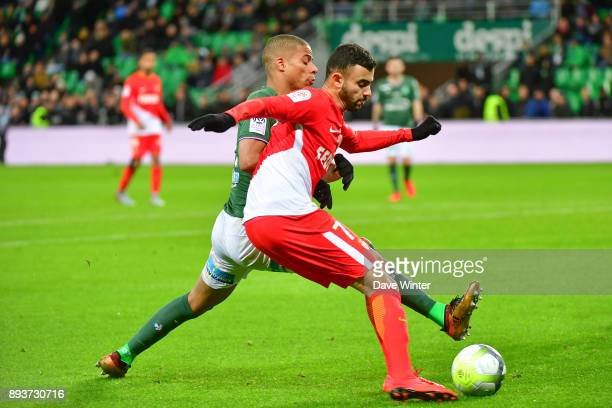 Rachid Ghezzal of Monaco and Kevin Monnet Paquet of St Etienne during the Ligue 1 match between AS SaintEtienne and AS Monaco at Stade...