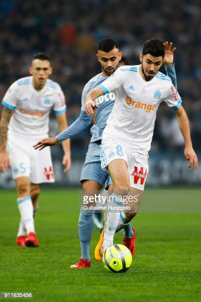 Rachid Ghezzal of Monaco and Morgan Sanson of Marseille during the Ligue 1 match between Marseille and Monaco at Stade Velodrome on January 28 2018...