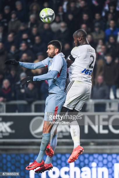 Rachid Ghezzal of Monaco and Prince Gouano of Amiens during the Ligue 1 match between Amiens SC and AS Monaco at Stade de la Licorne on November 17...
