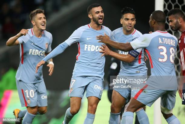 Rachid Ghezzal of Monaco celebrates his goal with Stevan Jovetic Radamel Falcao Almamy Toure during the French Ligue 1 match between Lille OSC and AS...