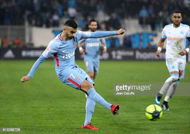Rachid Ghezzal of Monaco during the French Ligue 1 match between Olympique de Marseille and AS Monaco at Stade Velodrome on January 28 2018 in...