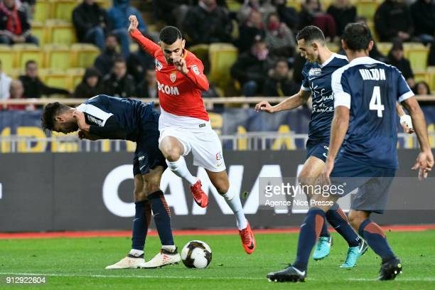 Rachid Ghezzal of Monaco during the League Cup semi final match between Monaco and Montpellier at Stade Louis II on January 31 2018 in Monaco Monaco