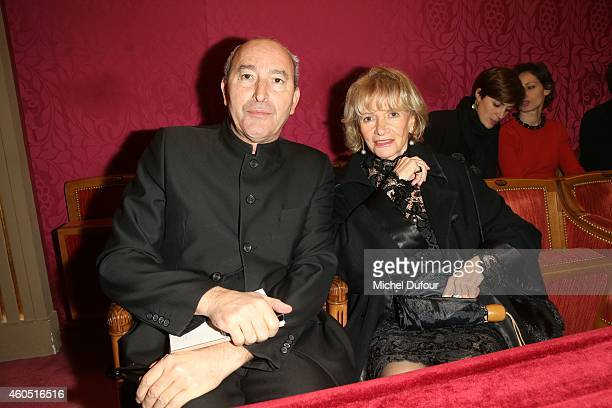 Rachid Kimoune and Eve Ruggieri attend the 'Les Sapins De Noel Des Createurs Designer's Christmas Trees Auction AT Drouot on December 15 2014 in...