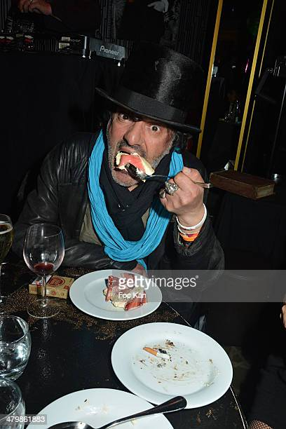 Rachid Taha attends the 'Moustache Party' Emmanuel De Brantes Birthday Party At Le Bus Restaurant on March 20 2014 in Paris France