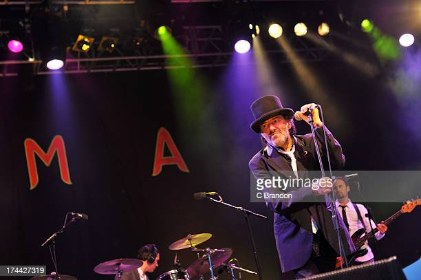 Rachid Taha performs on stage during Day 1 of the WOMAD Festival 2013 at Charlton Park on July 25 2013 in Wiltshire England