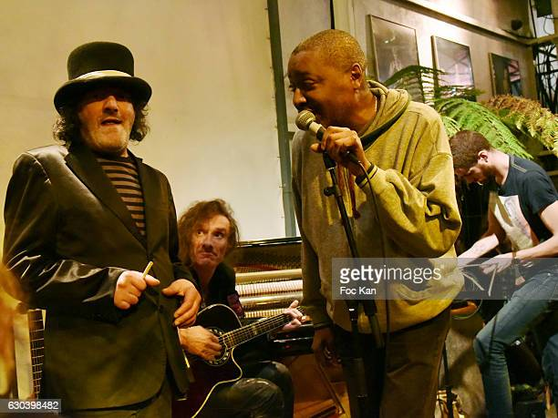 Rachid Taha Yan Pechin and Idriss Bass perform during the 'Back in 1966' Concert at La Bellevilloise on December 21 2016 in Paris France