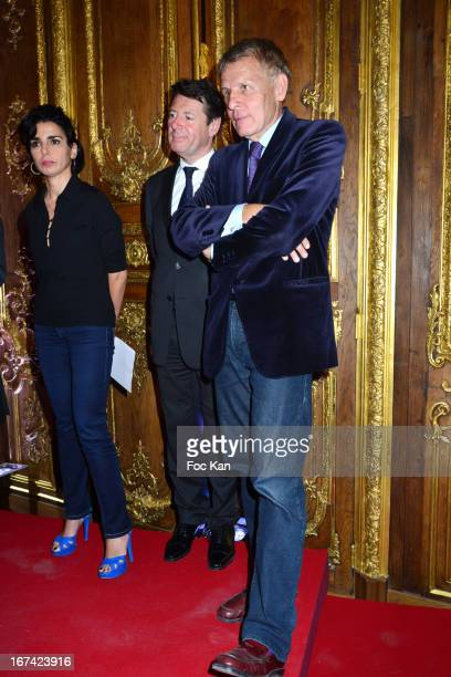 Rachida Dati Christian Estrosi and Patrick Poivre d'Arvor attend the 'Institut Des Lettres Et Manuscrits' Launch Cocktail at the Institut des Lettres...