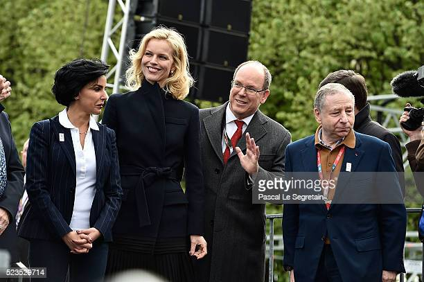 Rachida Dati Eva Hertzigova Prince Albert II of Monaco and Jean Todt attend the podium ceremony after the race of the FIA Formula E Paris ePrix on...