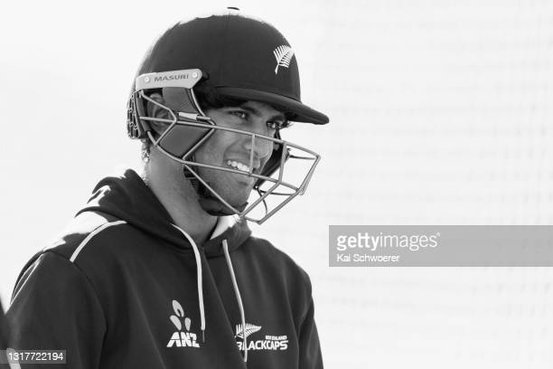 Rachin Ravindra looks on during a New Zealand Blackcaps training session at the New Zealand Cricket High Performance Centre on May 13, 2021 in...