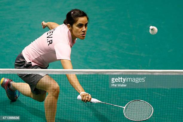 Rachita Sahdev of India plays a return during her qualificatoin match against Sally Fu of New Zealand during the 2015 Badminton Open at North Shore...