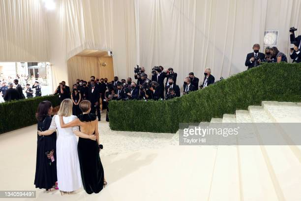 """Rachna Shah, Hildy Kuryk, and Nancy Chilton attend the 2021 Met Gala benefit """"In America: A Lexicon of Fashion"""" at Metropolitan Museum of Art on..."""