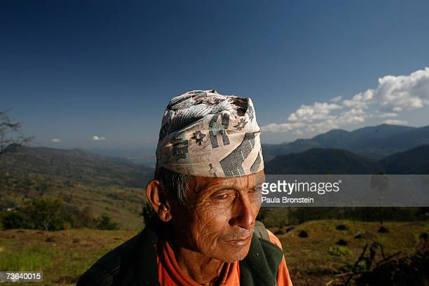 Rachya Bahadur Gurung a retired Gurkha serviceman since 1970 who served as an engineer stands in the mountainous landscape at his home on arch 16...