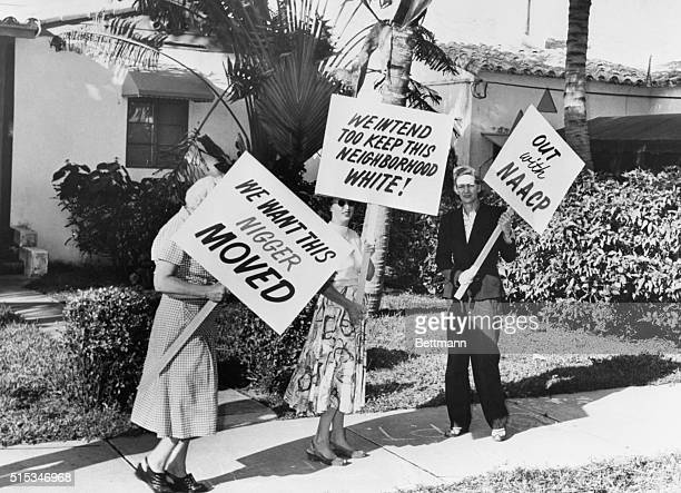 Racial dissension flares up in Northwest Miami as white citizens picket the home of Negro entertainer Frank Legree who moved into the formerly...