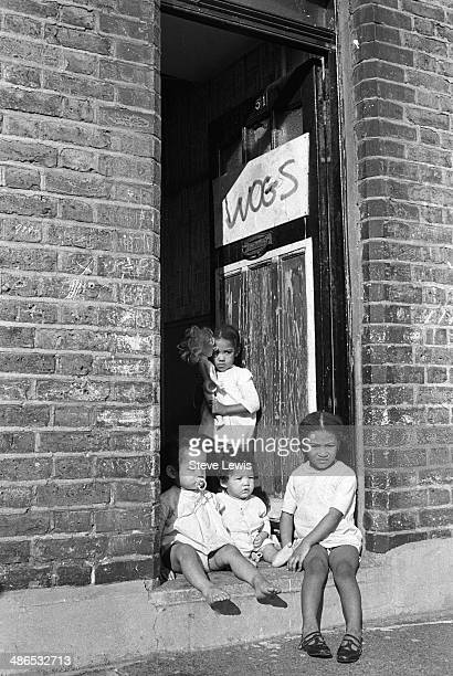 Racial tension in the East End of London with the word 'wogs' scrawled on the door of a house in Canning Town which had been firebombed 1960s