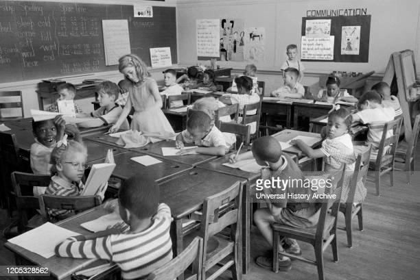 Racially Integrated Classroom, Barnard School, Washington, D.C., USA, photograph by Thomas J. O'Halloran, May 1955.