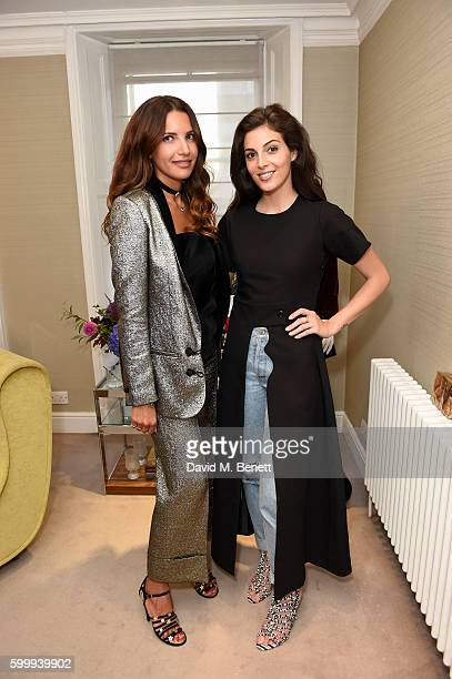 Racil Chalhoub and Rasan Jamal attends a cocktail reception hosted by RACIL And MATCHESFASHIONCOM to celebrate the launch of Racil AW16 Collection on...