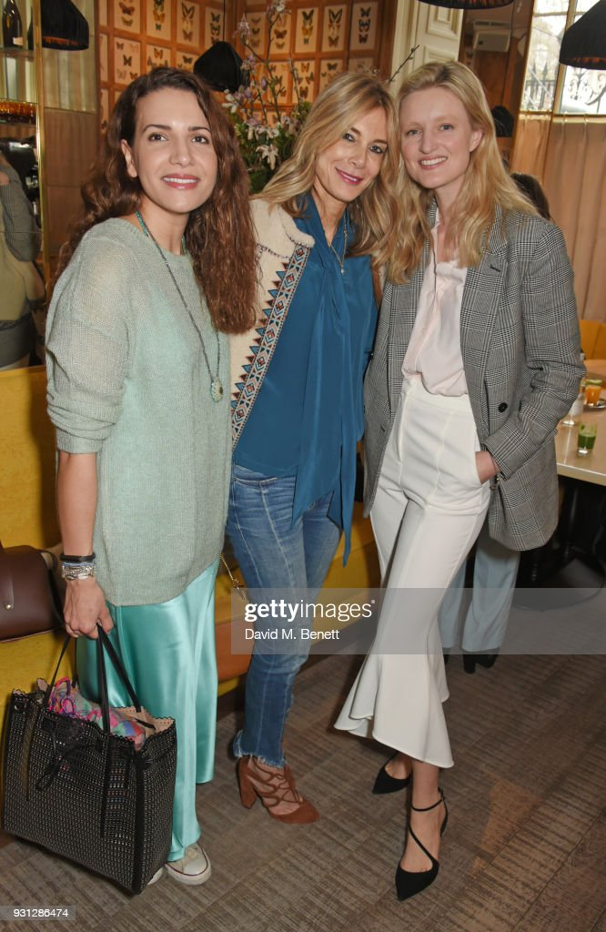 Racil Chalhoub, Kim Hersov and Candice Lake attend the Espie Roche launch breakfast at The Chess Club on March 13, 2018 in London, England.