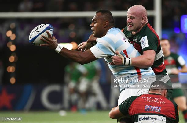 Racing 92 Fijian flanker Leone Nakarawa vies with Leicester's prop from England Dan Cole during the European Rugby Champions Cup union match between...
