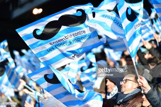 Racing 92 flags with the Movember men's health awareness logo during the Top 14 match between Racing 92 and Montpellier on November 26 2017 in Paris...