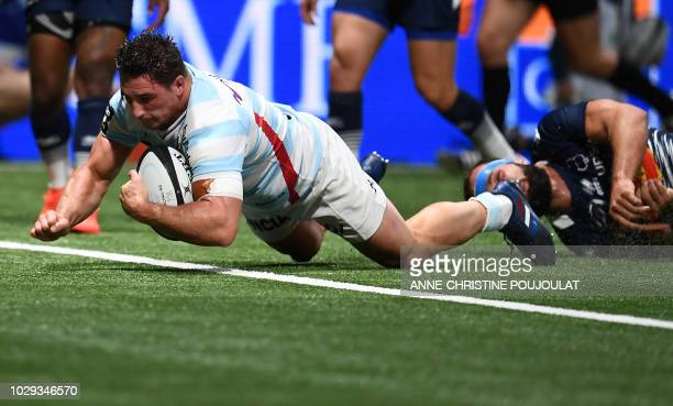 Racing 92 French hooker Camille Chat scores a try during the French Top 14 rugby union match between Racing 92 and Agen on September 8 2018 at the U...