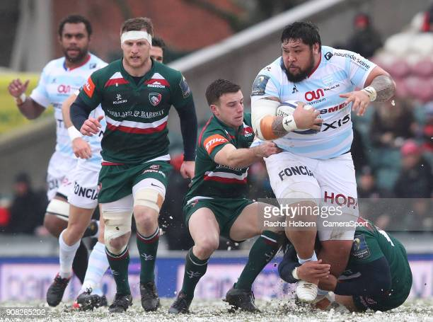 Racing 92's Ben Tameifuna during the European Rugby Champions Cup match between Leicester Tigers and Racing 92 at Welford Road on January 21 2018 in...