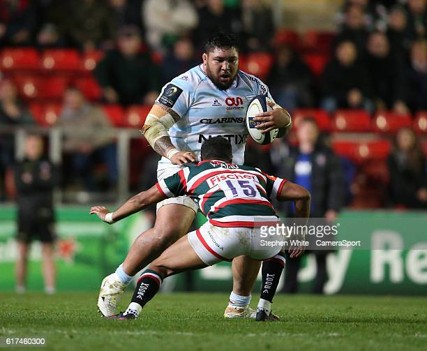Racing 92's Ben Tameifuna is tackled by Leicester Tigers' Telusa Veainu during the Premier League match between Leicester City and Crystal Palace at...