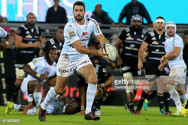 Racing 92's fly-half Remi Tales prepares to pass the ball during the French Top14 rugby union match between Brive and Racing 92 at the Amede Domenech...