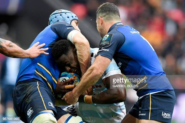 Racing 92's French number eight Yannick Nyanga fights for the ball during the 2018 European Champions Cup final rugby union match between Racing 92...