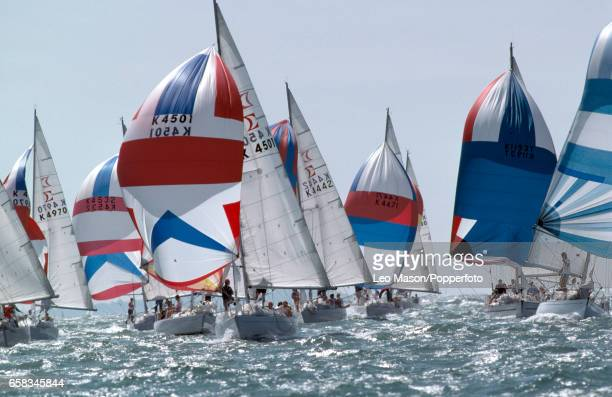 Racing action during Cowes Week off the Isle of Wight circa August 1990