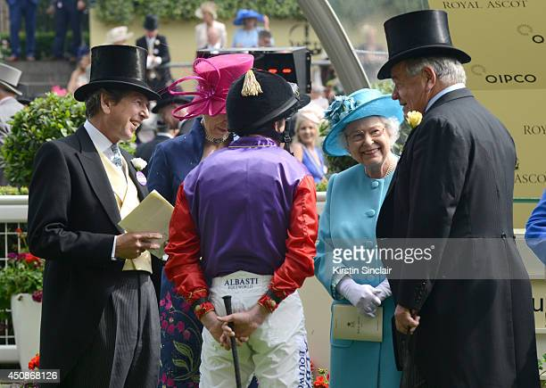 Racing Advisor to the Queen John Warren Anne Princess Royal jockey Ryan Moore Queen Elizabeth II and guest attend day three of Royal Ascot at Ascot...
