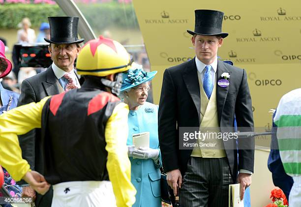 Racing advisor to the Queen John Warren Queen Elizabeth II and Prince Harry survey the jockeys during day three of Royal Ascot at Ascot Racecourse on...