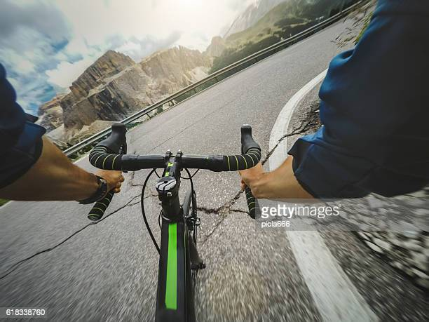 racing bicycle pov riding - handlebar stock photos and pictures