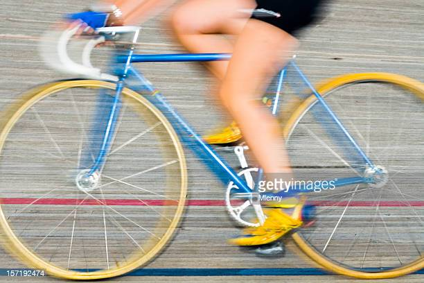racing bicycle velodrom motion blur