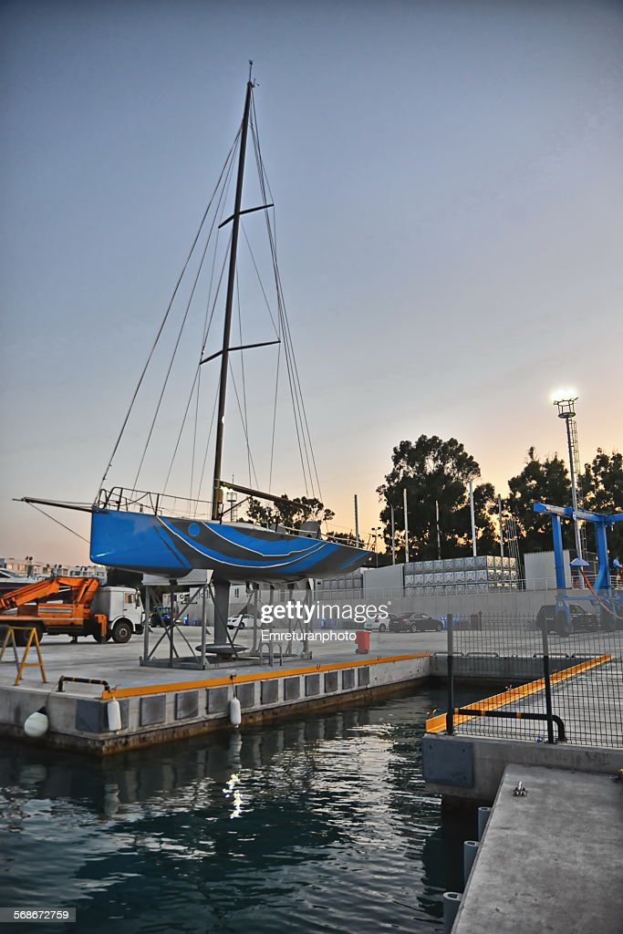 Racing boat on stands,evening view : Stock Photo