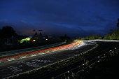 Racing car lights Nürburgring 24h race at the Nürburgring long exposure at the Schwalbenschwanz bend