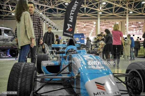 """Racing car seen at the exhibition. The annual exhibition """"Moto Spring"""" is the largest event of the year in its segment and a real holiday for all..."""