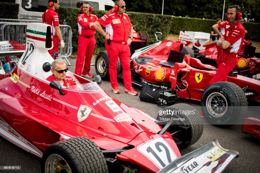 Racing cars line up in the paddock ahead of a race during the Goodwood Festival Of Speed at Goodwood on July 13, 2018 in Chichester, England.