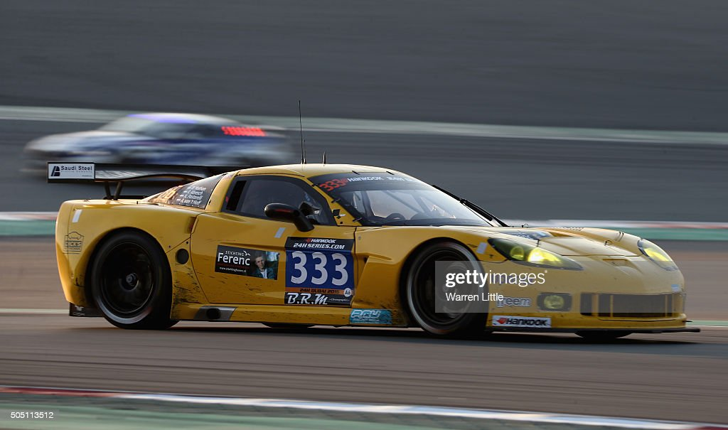 Racing, Chevrolet Corvette races during the Hankook 24 Hours Dubai Race in the International Endurance Series at Dubai Autodrome on January 15, 2015 in Dubai, United Arab Emirates.