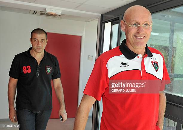 Racing Club Toulonnais newly appointed manager Bernard Laporte and RCT president Mourad Boudjellal leave after a press conference on September 14...