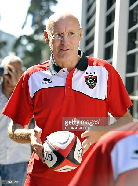 Racing Club Toulonnais newly appointed manager Bernard Laporte leaves after a press conference on September 14 2011 in Toulon southern France Laporte...