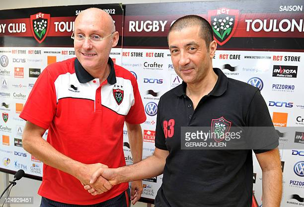 Racing Club Toulonnais newly appointed manager Bernard Laporte poses with RCT president Mourad Boudjellal during a press conference on September 14...