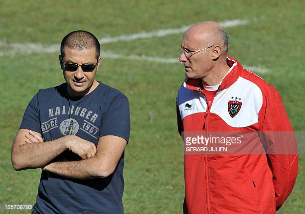 Racing Club Toulonnais newly appointed manager Bernard Laporte speaks with RCT president Mourad Boudjellal during his first training session with...
