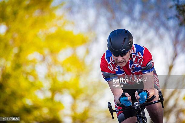 racing cyclist on Yorkshire country road