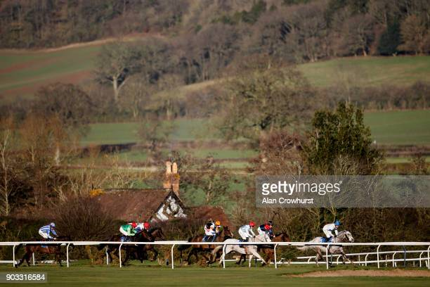 Racing down the back straight at Ludlow racecourse on January 10 2018 in Ludlow England